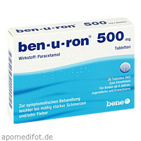 ben-u-ron 500mg Tabletten, 20 ST, Bene Arzneimittel GmbH