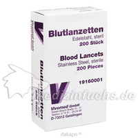 Blutlanzetten Metall einfach, 200 ST, Vivomed GmbH