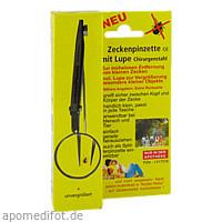 Zeckenpinzette mit Lupe Chirurgenstahl, 1 ST, Pharma Brutscher