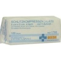SCHLITZKOMPRESSEN VLIES UNSTERIL 4FACH 5X5CM, 100 ST, Meditrade GmbH