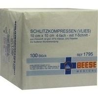 SCHLITZKOMPRESSEN VLIES UNSTERIL 4FACH 10x10CM, 100 ST, Meditrade GmbH