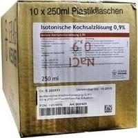 KOCHSALZ 0.9% ISOTON Plastik, 10X250 ML, Serag-Wiessner GmbH & Co. KG