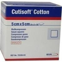 Cutisoft Cotton Kompressen 5x5cm steril, 25X2 ST, Bsn Medical GmbH