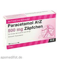 Paracetamol AbZ 500mg Zäpfchen, 10 ST, Abz Pharma GmbH
