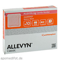 ALLEVYN Ag Gentle Border 10x10cm, 10 ST, Smith & Nephew GmbH