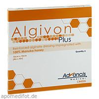 Algivon Plus Honigalginat 10x10cm, 5 ST, Advancis Medical Deutschland GmbH
