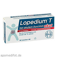 Lopedium T akut bei akutem Durchfall, 10 Stück, HEXAL AG