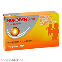 Nurofen Junior 60mg Zäpchen, 10 ST, Reckitt Benckiser Deutschland GmbH