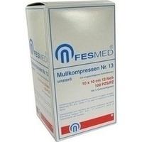 MULLKOMPRESSE GR13 UNSTERIL 10X10CM ES 12F, 100 ST, Fesmed Verbandmittel GmbH