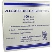 ZELLSTOFF MULLKOMPRESSEN 10CMX20CM UNSTERIL, 100 ST, Kerma Verbandstoff GmbH