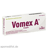 VOMEX A Dragees 50 mg überzogene Tabletten Dragees, 20 ST, Klinge Pharma GmbH