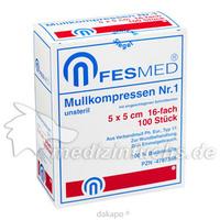 MULLKOMPRESSE GR1 UNSTERIL 5X5CM ES 16F, 100 ST, Fesmed Verbandmittel GmbH