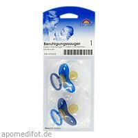 Beruhigungssauger Kirsch Latex 0-6M bicolor blau, 2 ST, Büttner-Frank GmbH