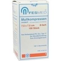 MULLKOMPRESSEN UNSTERIL 7.5X7.5 ES 8F, 100 ST, Fesmed Verbandmittel GmbH