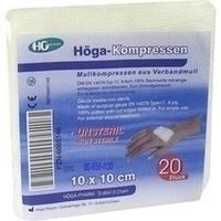 HOEGA KOMPRESSEN UNSTERIL DIN61630 10x10CM 8-FACH, 20 ST, Höga-Pharm G.Höcherl