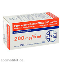 PARACETAMOL Saft HEXAL 200 mg/5 ml b.Fieb.u.Schme., 100 ML, Hexal AG