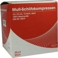 SCHLITZKOMPRESSE Mull 10x10cm 12fach steril Ausb, 25X2 ST, Dr. Ausbüttel & Co. GmbH