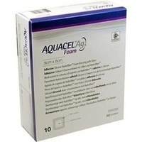 AQUACEL Ag Foam adhäsiv 8x8cm, 10 ST, Convatec (Germany) GmbH