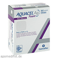 AQUACEL Ag Foam nicht-adhäsiv 5x5cm, 10 ST, Convatec (Germany) GmbH