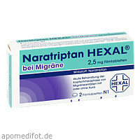Naratriptan Hexal bei Migräne 2.5mg, 2 ST, HEXAL AG
