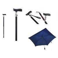 Gehstock mit Schirm und Beleuchtung schwarz, 1 ST, Groß GmbH