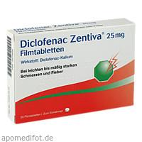 Diclofenac Zentiva 25 mg Filmtabletten, 20 ST, Zentiva Pharma GmbH