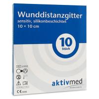 aktivmed Wunddistanzgitter sensitiv silikon10x10cm, 10 ST, Aktivmed GmbH