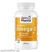 Omega-3 Gold Gehirn DHA 500mg/EPA 100 mg, 120 ST, Zein Pharma - Germany GmbH