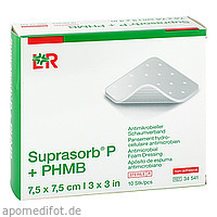 Suprasorb P + PHMB Schaumverband 7.5x7.5 cm, 10 ST, Lohmann & Rauscher GmbH & Co. KG