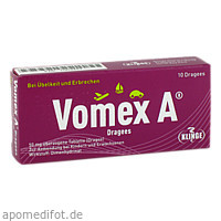 VOMEX A Dragees 50 mg überzogene Tabletten Dragees, 10 ST, Klinge Pharma GmbH