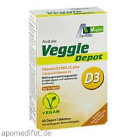 Veggie Depot Vitamin D3 800 I.E.+Calcium+B5, 60 ST, Avitale GmbH