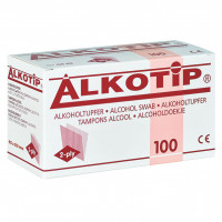 Alkotip Alkoholtupfer 90 x 110 mm 4-Ply, 100 ST, Diaprax GmbH