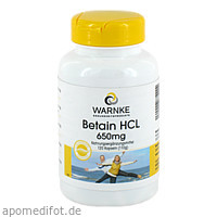 Betain HCL 650mg, 120 ST, Warnke Vitalstoffe GmbH