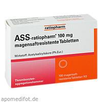 ASS-ratiopharm 100 mg magensaftresistente Tablette, 100 ST, ratiopharm GmbH