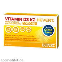 VITAMIN D3 K2 Hevert plus Ca Mg 1000 IE/2 Kapseln, 60 ST, Hevert Arzneimittel GmbH & Co. KG