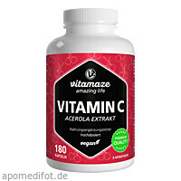 Vitamin C 160mg Acerola Extrakt pur vegan, 180 ST, Vitamaze GmbH