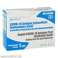 Spucktest Anbio Antigen Covid-19 Rapid Koll.Gold, 1 ST, Sanopharm Arzneimittelvertriebs GmbH