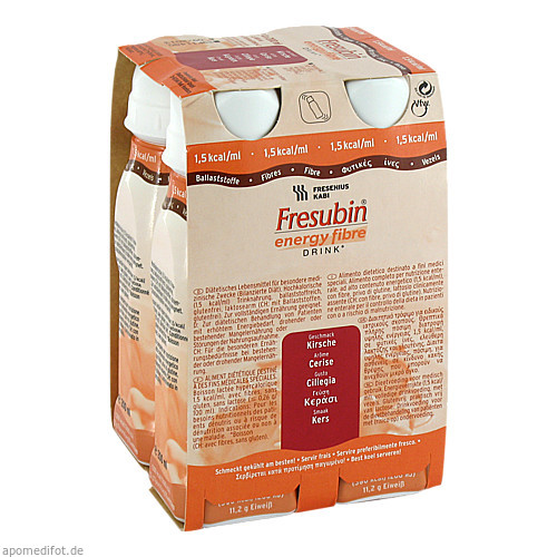 Fresubin energy fibre DRINK Kirsche Trinkflasche, 4X200 ML, Fresenius Kabi Deutschland GmbH