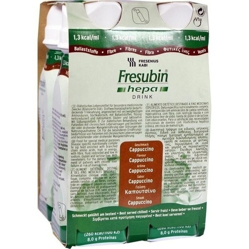 Fresubin hepa DRINK Cappucino Trinkflasche, 4X200 ML, Fresenius Kabi Deutschland GmbH