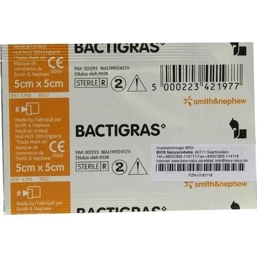 BACTIGRAS 5X5CM PARAFFINgaze, 1 ST, Bios Medical Services GmbH