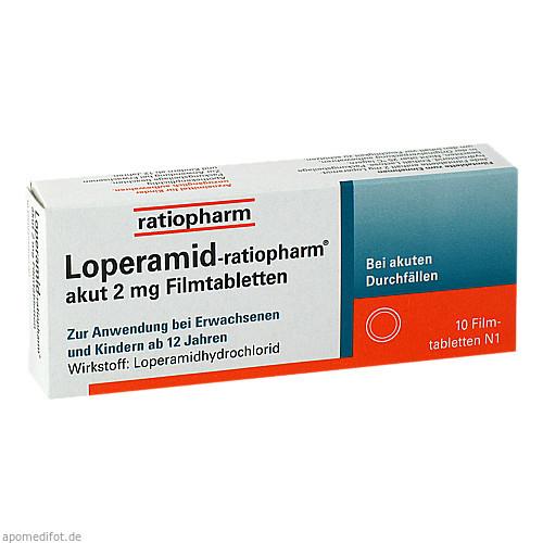 Loperamid-ratiopharm akut 2mg Filmtabletten, 10 ST, ratiopharm GmbH