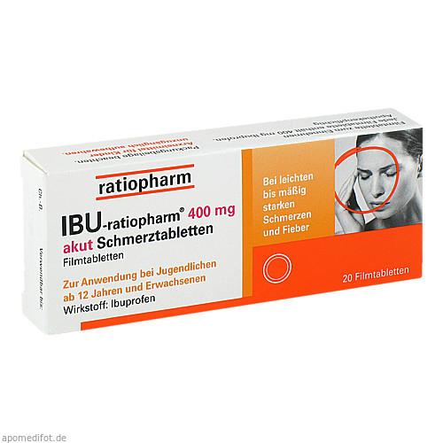 Ibu-ratiopharm 400mg akut Schmerztabletten, 20 ST, ratiopharm GmbH