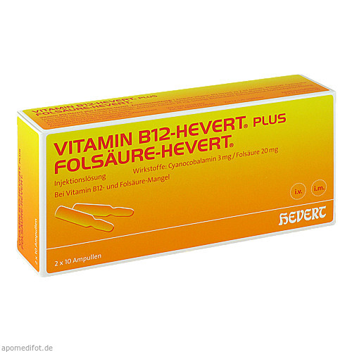 VITAMIN B12 plus Folsäure Hevert \a22 2 ml Ampullen, 2X10 ST, Hevert Arzneimittel GmbH & Co. KG