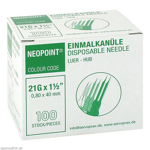 Einmalkanüle NEOPOINT 21Gx1 1/2 0.80x40mm steril, 100 ST, Diaprax GmbH