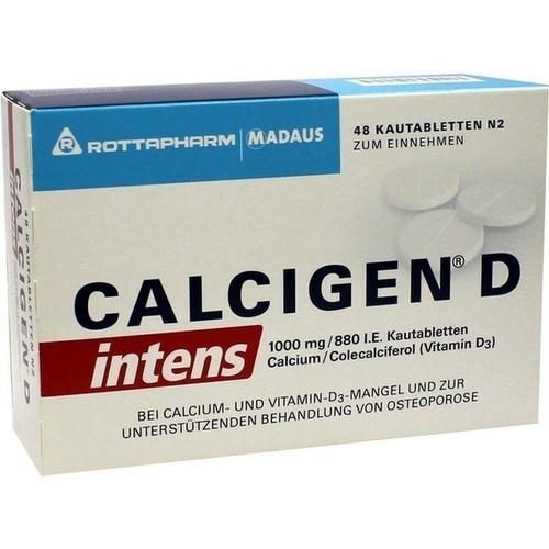 Calcigen D intens 1000 mg/880 I.E.Kautabletten, 48 ST, Meda Pharma GmbH & Co. KG