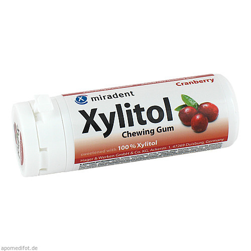 miradent Xylitol Chewing Gum Cranberry, 30 ST, Hager Pharma GmbH