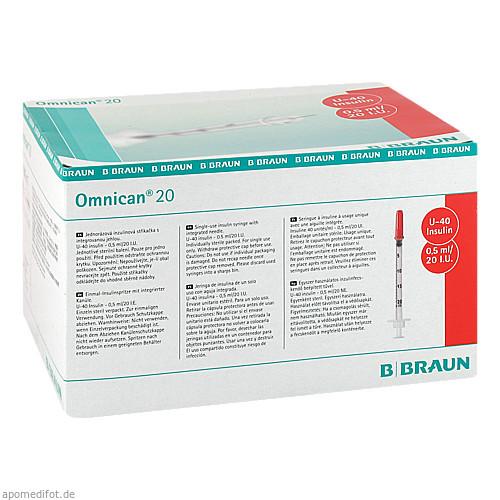 Omnican 20 0.5ml Insulin U-40 0.30x8mm einzelverp, 100X1 ST, B. Braun Melsungen AG