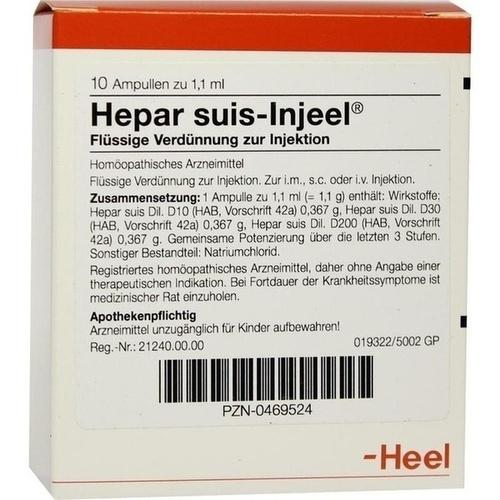HEPAR SUIS INJ ORG, 10 ST, Biologische Heilmittel Heel GmbH
