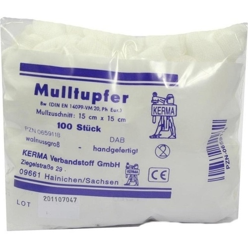 MULLTUPFER HANDGEF.UNSTERIL WALLNUSSGROSS 15x15CM, 100 ST, Kerma Verbandstoff GmbH