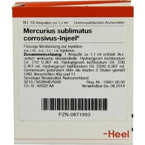 MERCURIUS SUBLIMATUS corrosivus Injeel Ampullen, 10 ST, Biologische Heilmittel Heel GmbH